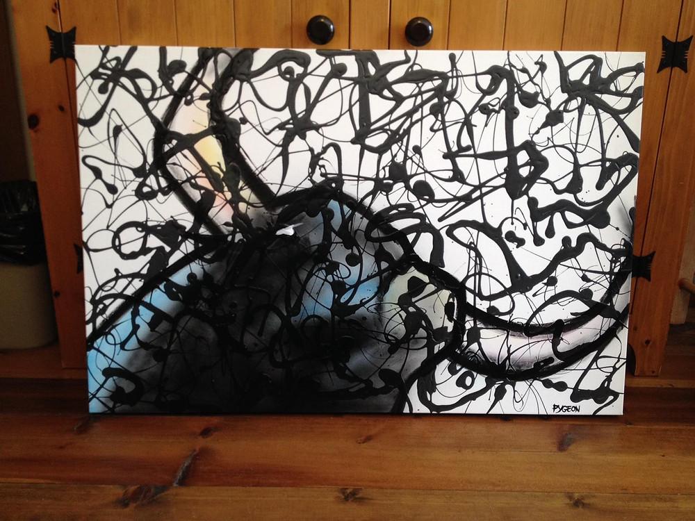 buffle abstrait au airbrush | Toile d'artiste peintre à vendre | Yan Pigeon