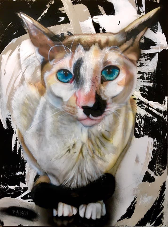 Yan pigeon | Peinture de char sur toile | Peinture recherche