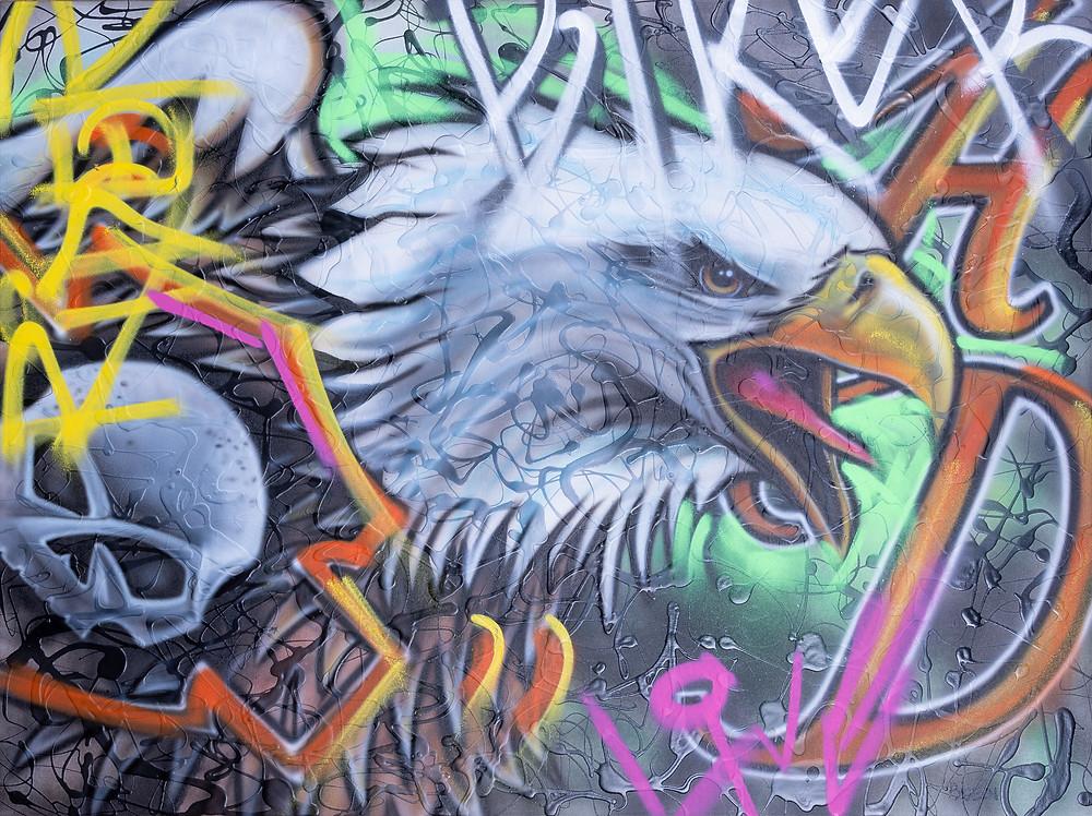 Aigle au airbrush | tableau sur toile - peinture au acrylique et airbrush à Québec