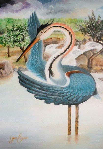 Oiseau grue Japonais - Peinture sur toile contemporaine à Québec | Yan Pigeon artiste et peintre