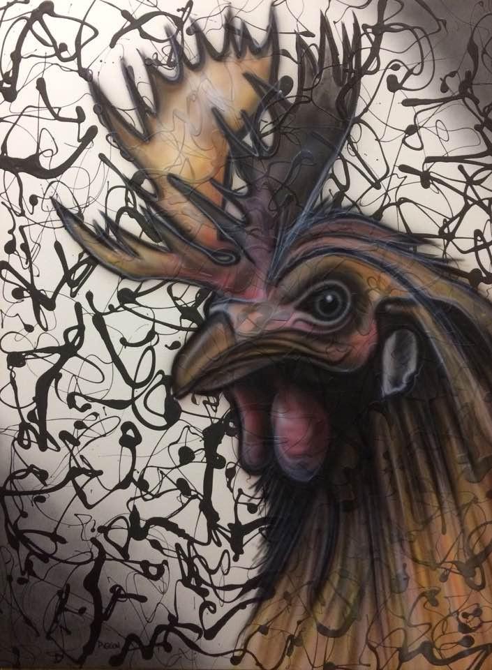 Peinture en acrylique sur une toile | Yan Pigeon | Coq abstrait moderne 3