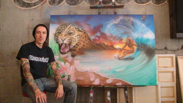Tigre et surf | Peinture en acrylique moderne sur toile | Yan Pigeon