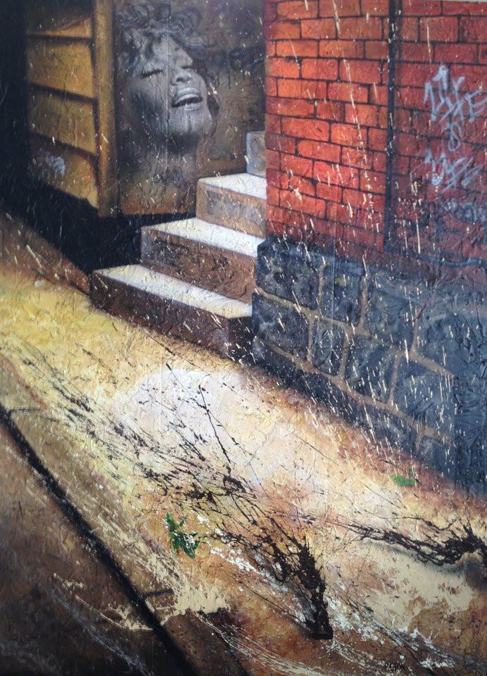 Ruelle peinture en acrylique | Yan Pigeon artiste sur toile moderne à Québec