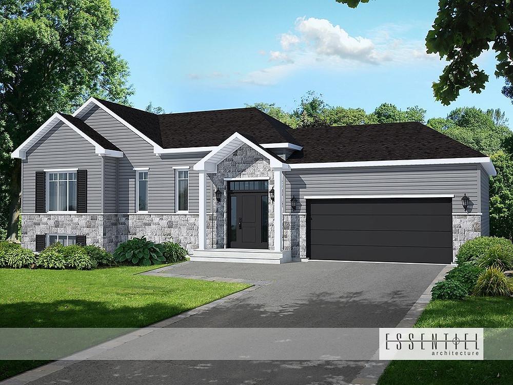 Conception 3D de plan de maison avec garage | Essentiel Architecture | Québec