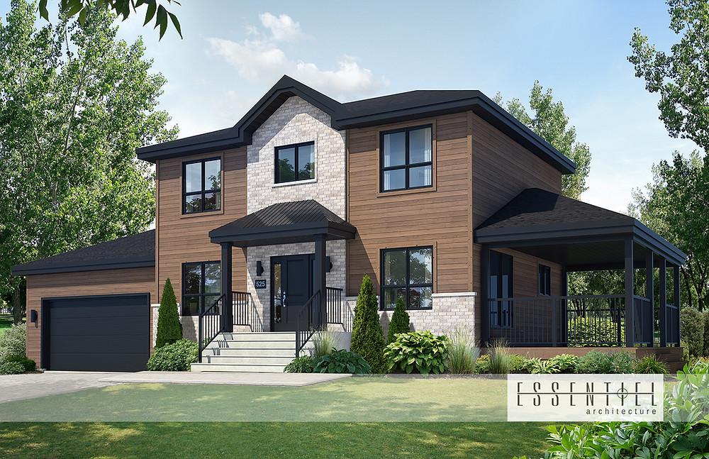 Conception 3D de modèle de maison à étages pour construction | Essentiel Architecture | Québec