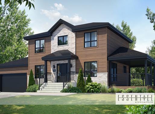 Conception 3D pour modèle de maison à étages style moderne