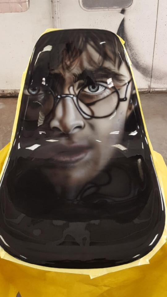 Airbrush sur meuble | Harry potter airbrush | Artiste peintre Quebec
