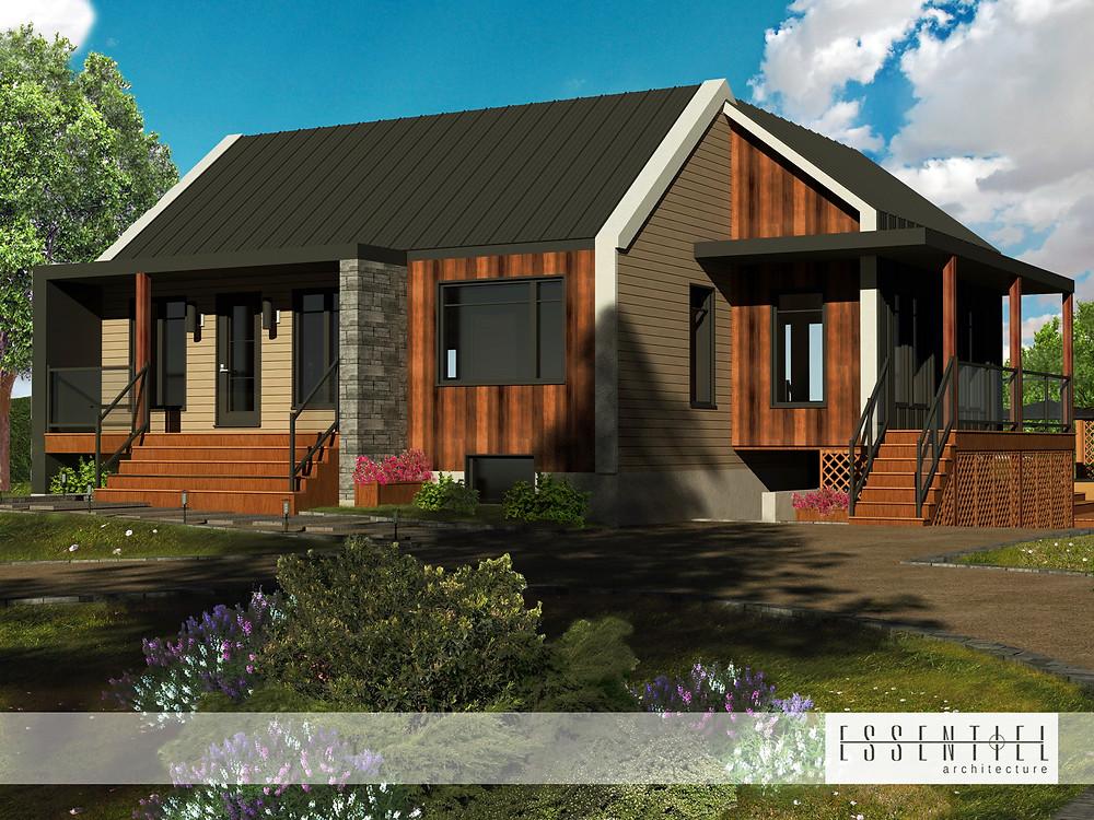 Conception 3D de plan de maison plain-pied contemporaine | Essentiel Architecture | Québec