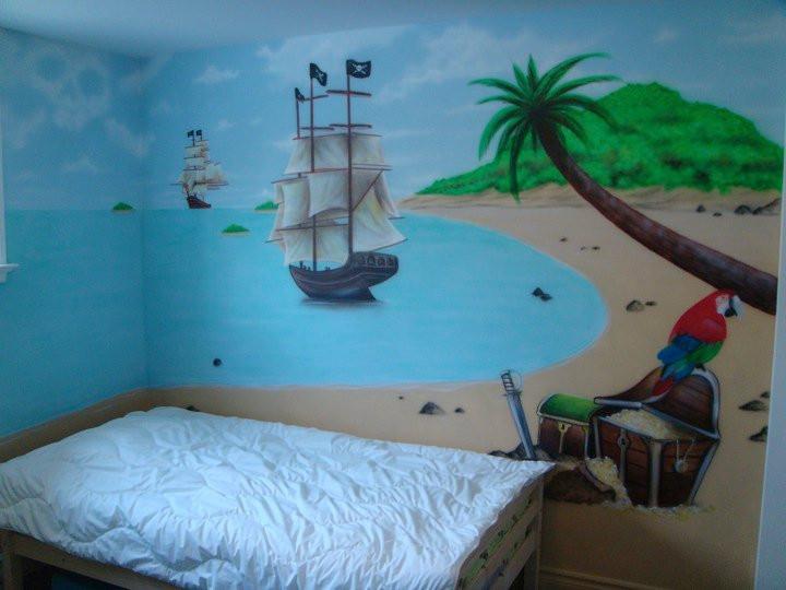 Décoration murale de trésor pirate | Mur intérieur peint par Yan Pigeon