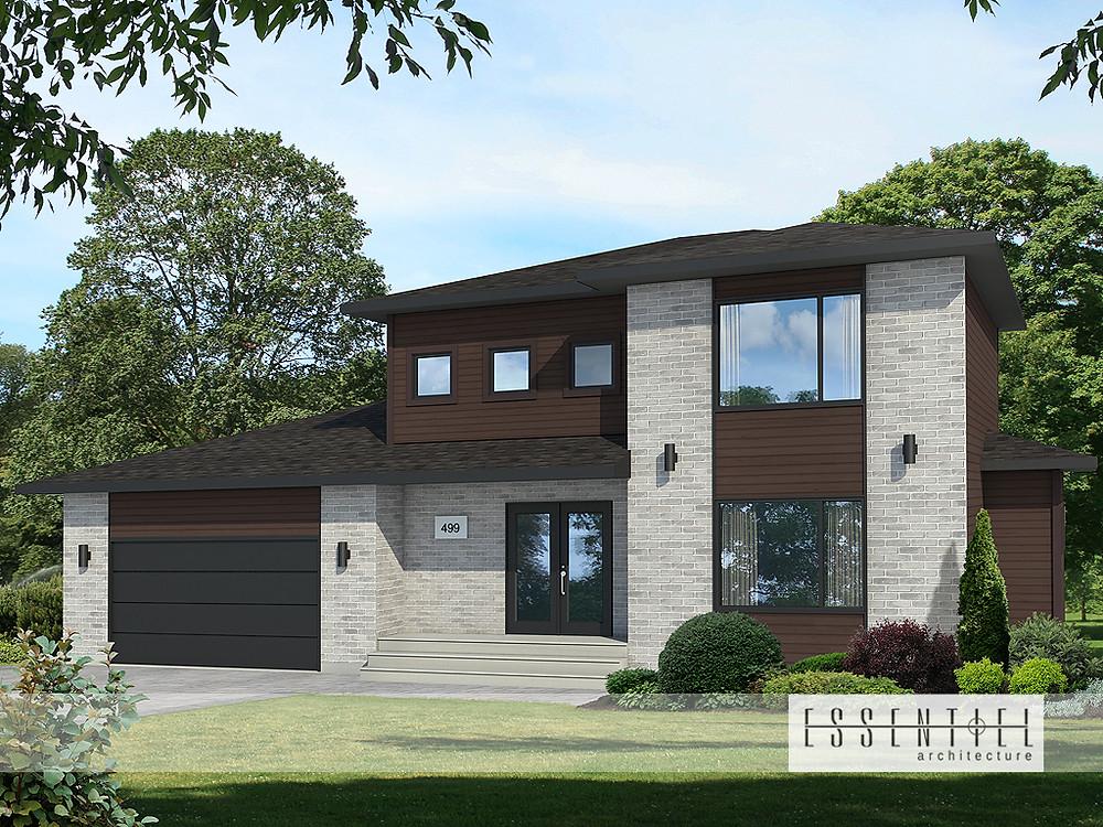 Conception 3D d'une maison modèle moderne à Québec | Essentiel Architecture