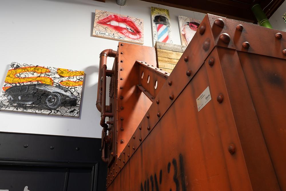 Décor de métal - Faux fini de mur en métal et effet rouille | Peinture au airbrush à Québec 6