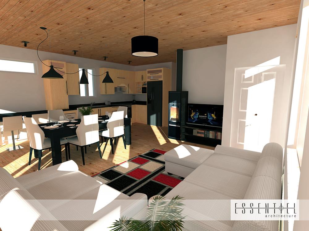 Conception intérieure 3D d'un chalet | Essentiel Architecture | Québec