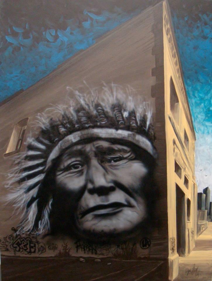 Chef amérindien | reproduction de peinture sur toile à Québec | Yan Pigeon