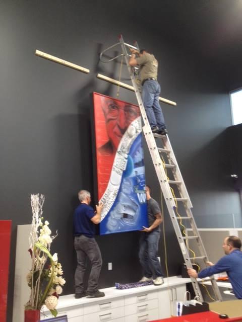 Décoration tableau rouge et bleu |  Peinture sur toile par yan Pigeon