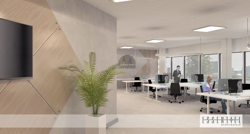 Conception intérieure 3D de bureau commercial | Essentiel Architecture | Québec