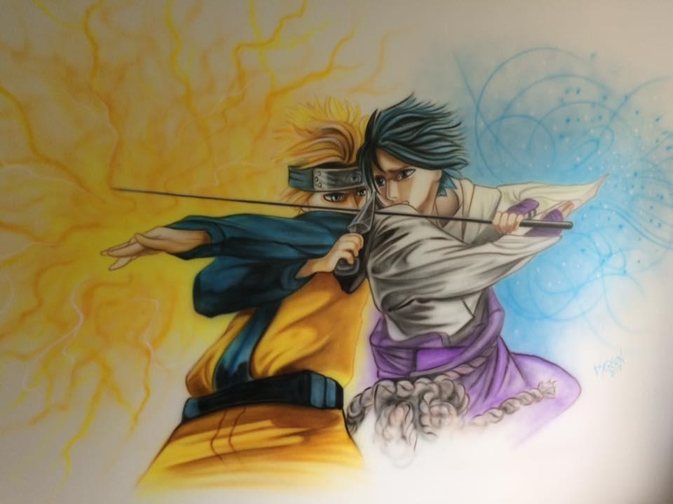 Naruto peinturé au airbrush sur une murale | Grafiti par Yan Pigeon artiste et peintre à Québec 2