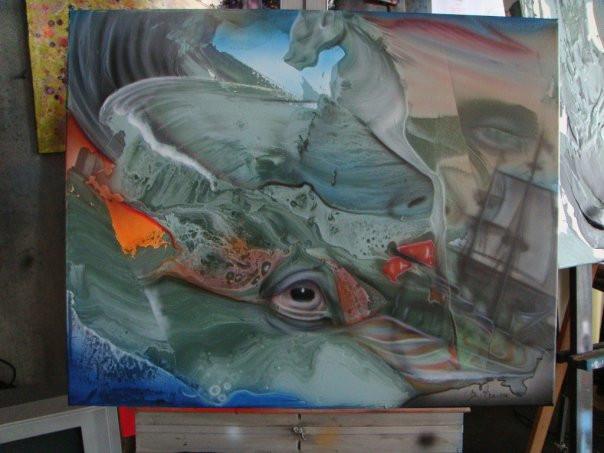 Tableau et peinture de baleine moderne sur toile | Yan Pigeon artiste et peintre Québec