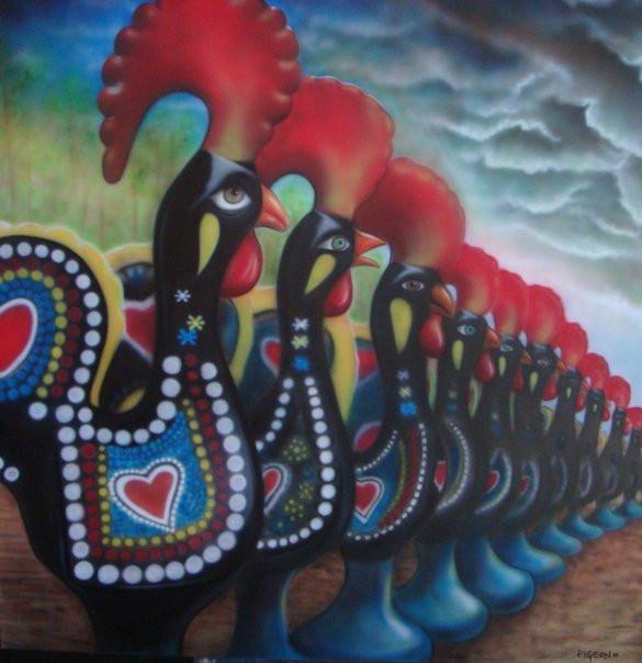 Coq traditionnel   Peinture sur toile moderne   Yan Pigeon peintre et artiste