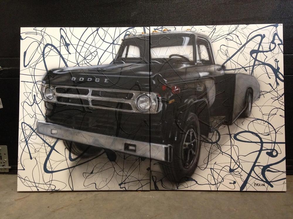Peinture de camion en acrylique sur toile | Tableau abstrait Yan Pigeon