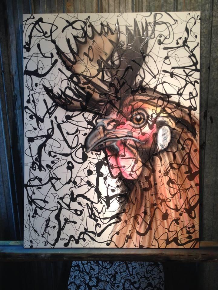 Peinture en acrylique sur une toile | Yan Pigeon | Coq abstrait moderne 2