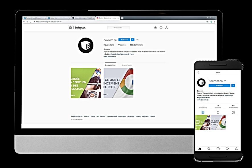 Exemple de page Instagram par Boxcom, Gestion de réseaux sociaux à Québec