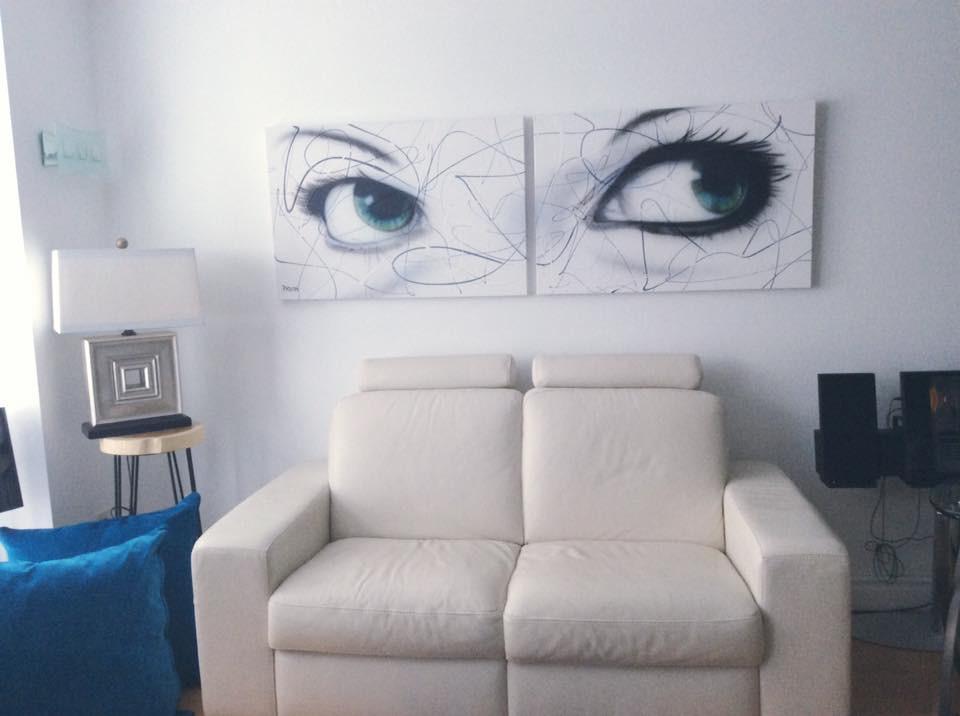 Paire de yeux en acrylique sur toile moderne   Yan Pigeon artiste et peintre Québec