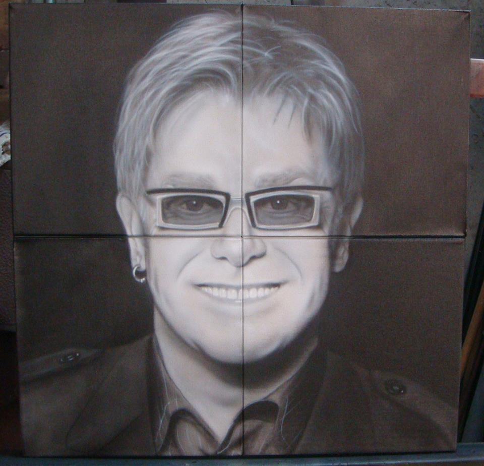 Peinture portrait de Elton John sur toile noire | Yan Pigeon artiste et peintre Québec