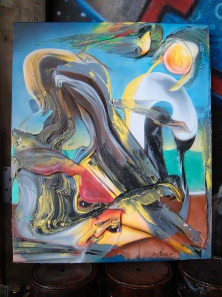 Cygne abstrait, peinture sur toile | Yan Pigeon artiste et peintre Québec