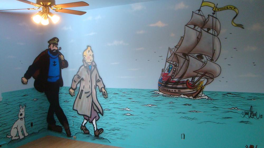 Grande décoration murale au airbrush | Les aventures de Tintin | Yan Pigeon artiste à Québec