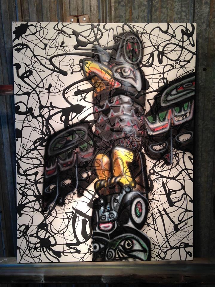 Peinture de totem amérindien contemporaine sur toile par Yan Pigeon
