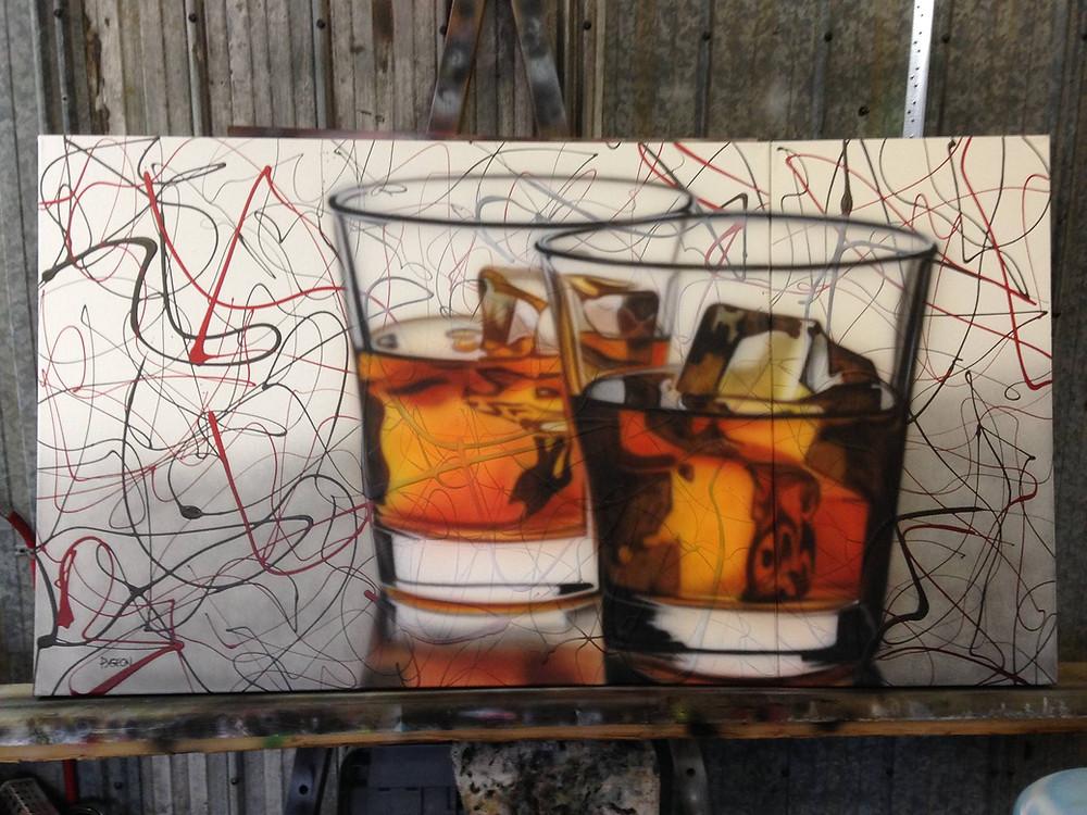 Verre de whisky toile au airbrush | Yan Pigeon peintre et artiste à Québec