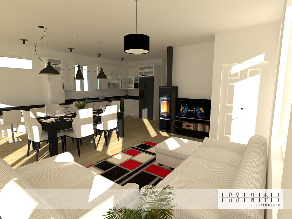 Conception intérieure 3D de maison | Essentiel Architecture | Québec