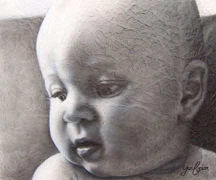 Bébé peinture au airbrush sur grande toile | Yan Pigeon peintre à Québec