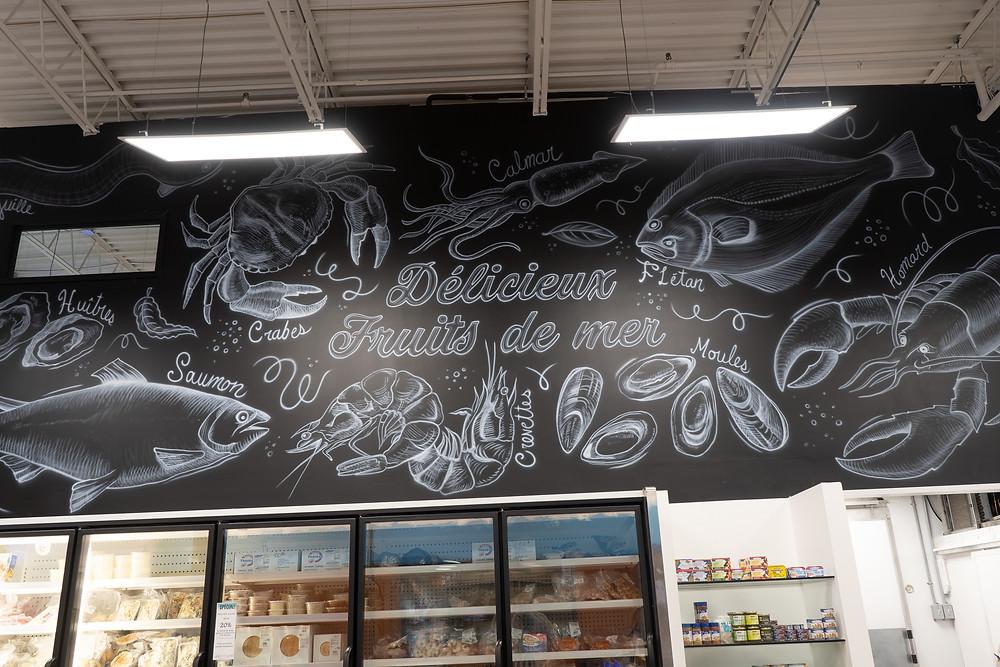 Peinture noir et blanc fruits de mer | Murale pour cuisine et décoration | Peinture murale à Québec