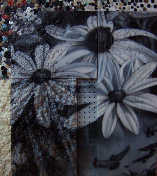 Fleurs en noir et blanc au airbrush   Yan Pigeon artiste et peintre contemporain à Québec