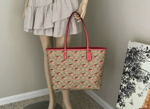 COACH REVERSIBLE CITY TOTE with STRAWBERRY PRINT