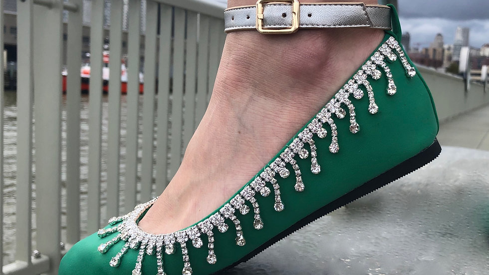 Emerald Green FlipSlips w Crystals