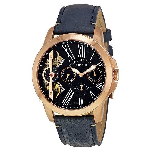Fossil Grant Twist Three-Hand Blue Leather Watch