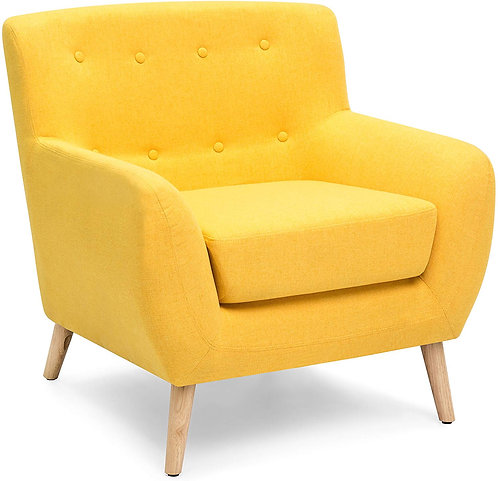 Best Choice Products Mid-Century Modern Tufted Linen Accent Chair - Yellow