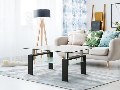 Movamax Minimalist Modern Double Layer Rectangle Glass Side Coffee Table