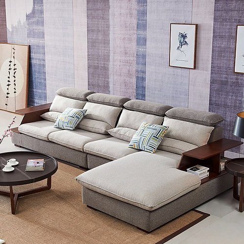 Manbas Minimalist Modern Sectional L-Shaped Sofa Set with Storage