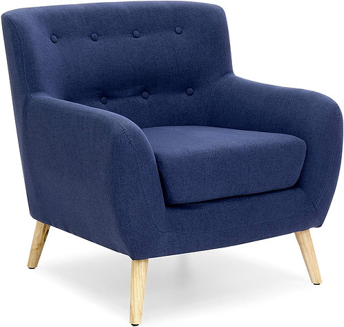 Best Choice Products Mid-Century Modern Tufted Linen Accent Chair - Dark Blue