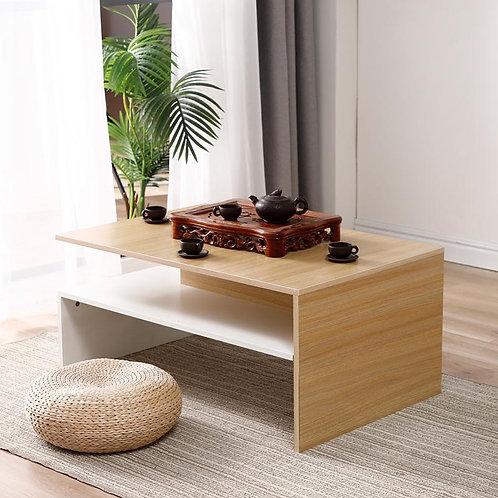 Movamax Modern Double Layer Wooden Rectangle Tea Table & Magazine Shelf