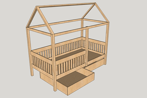 Toddler - House Bed on Legs with Storage