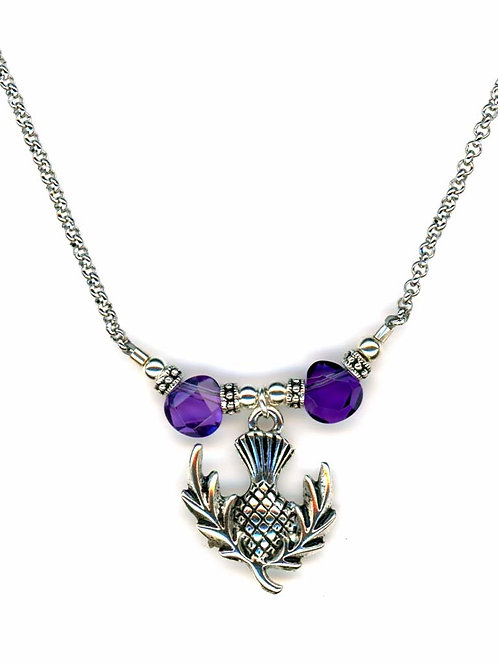 Amethyst Thistle Charm Necklace