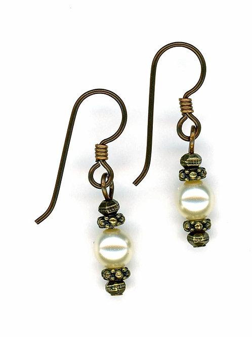 Bronze & Swarovski Pearl Earrings