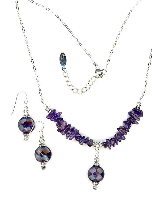 Amethyst, Faceted Coin and Chips Necklace