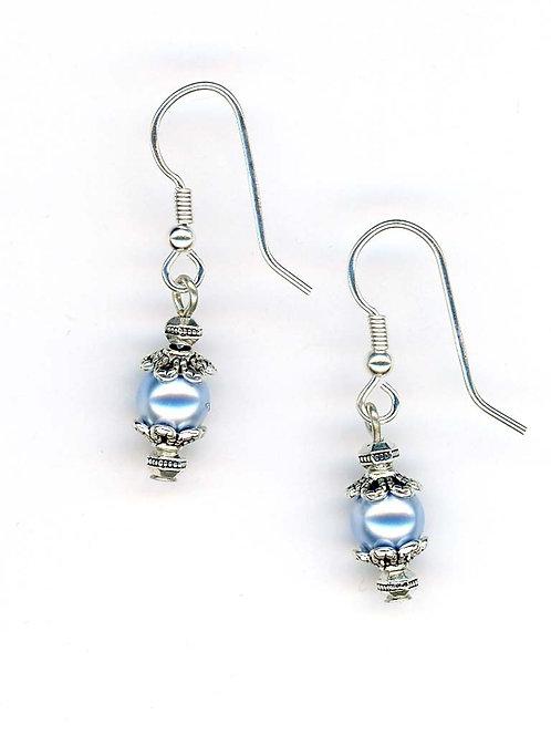 Blue Swarovski Pearl Earrings