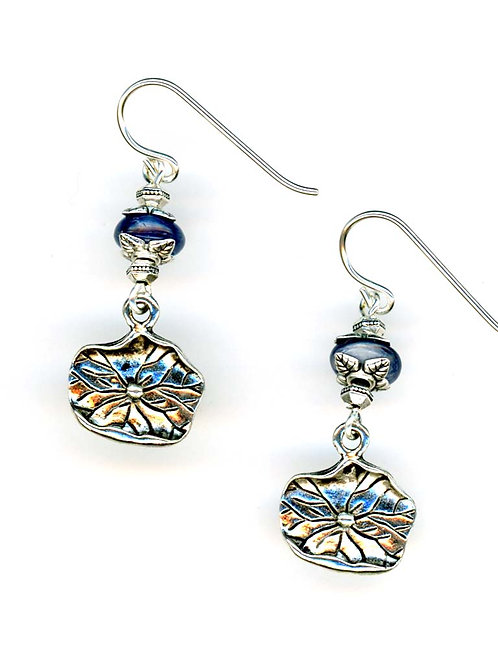 Kyanite, Lily Pad Drop Earrings