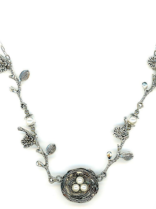 Silver Nest Necklace, White Swarovski Pearls